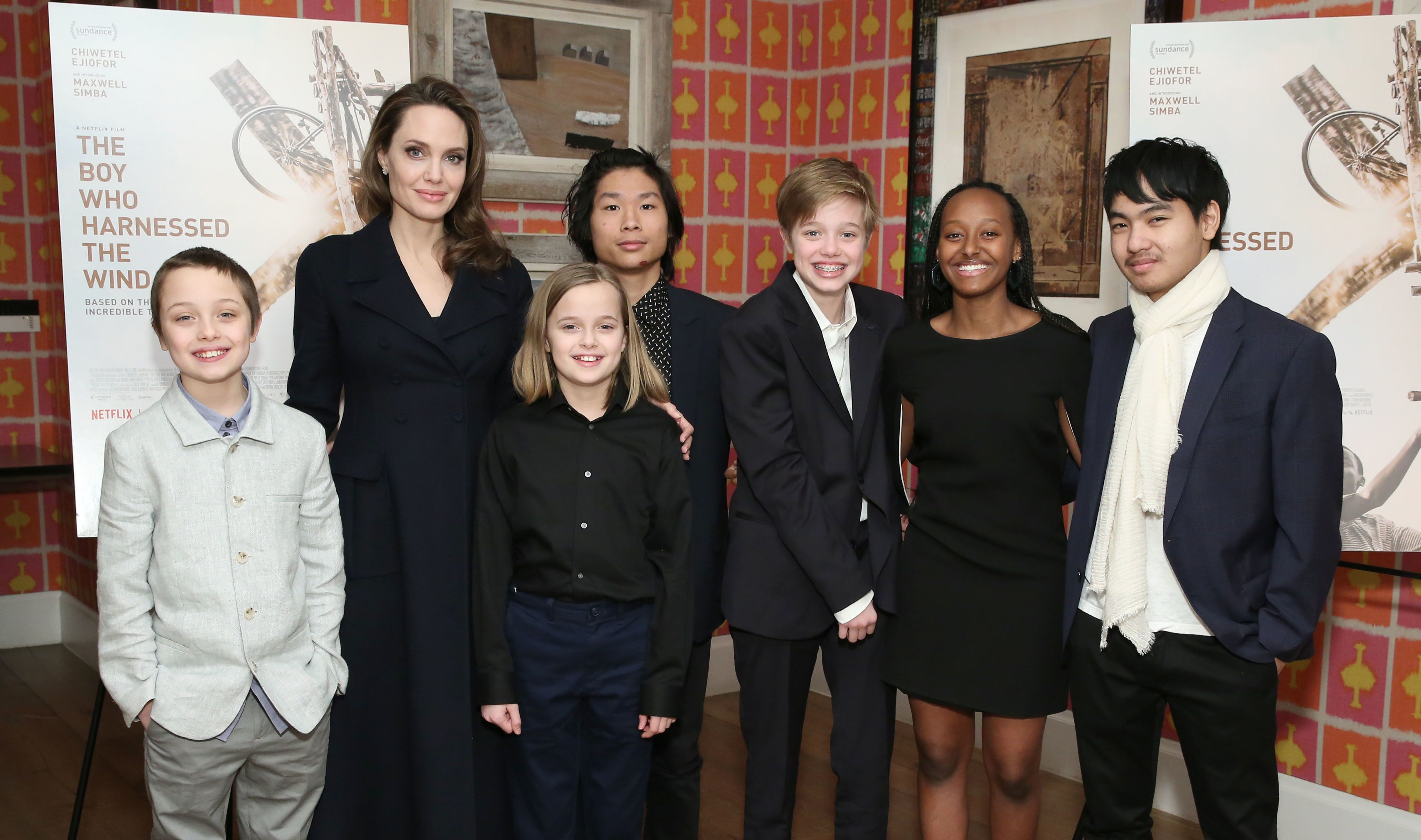 "Jolie and her six children attend a screening of ""The Boy Who Harnessed the Wind"" in New York City in February.&nb"