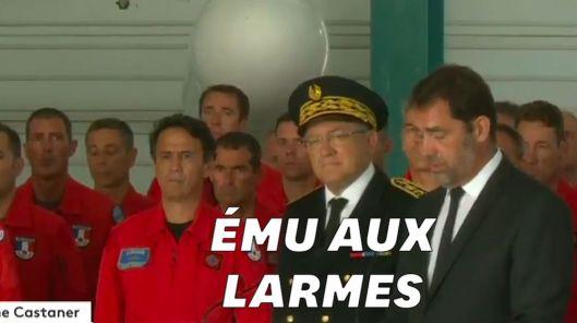 Castaner se montre ému aux larmes pour son hommage au pilote Franck