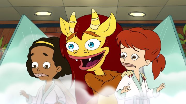 "The characters Jessi and Missy with Connie the Hormone Monstress in ""Big Mouth"""