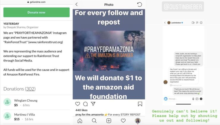 Left: People donate to a fraudulent GoFundMe campaign that was promoted on Instagram. Middle: An Instagram scammer account pl