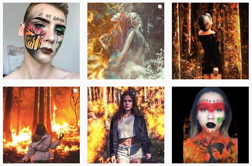Instagram users use the hashtag #PrayForAmazonia to promote themselves and various brands.