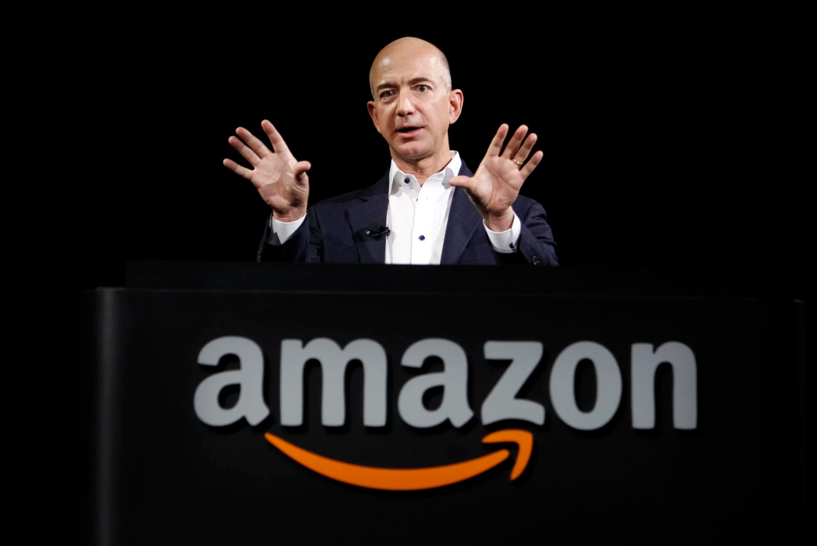 Jeff Bezos, the CEO of Amazon, at a news conference in 2012. Bezos figured out a way to make shopping effortless and deliveri