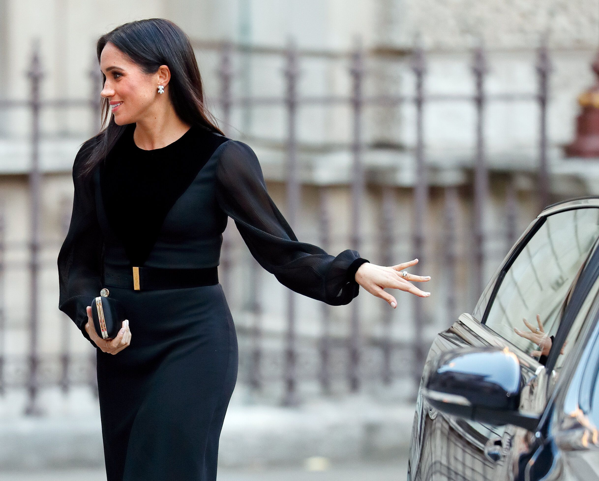 "The Duchess of Sussex arrives to open ""Oceania"" at the Royal Academy of Arts on Sept. 25, 2018, in London."