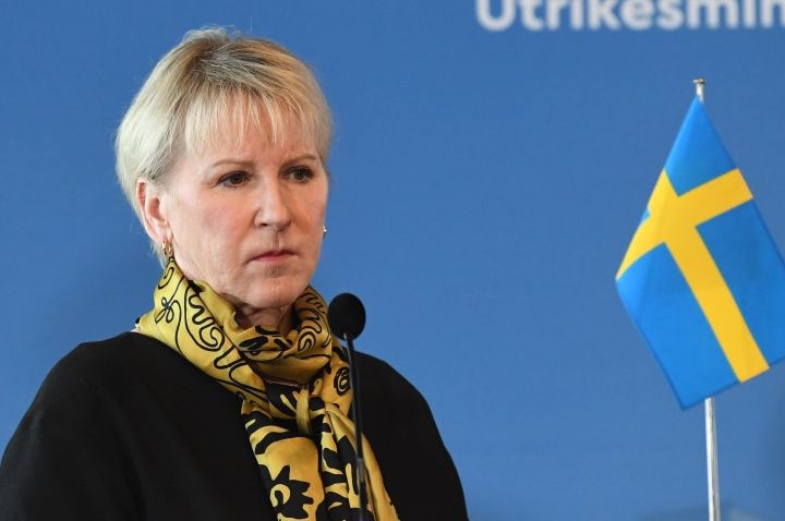 Wallstrom holds a press conference during a meeting of the foreign ministers of Germany, Sweden, Denmark and Finland in Helsinki, Finland, on March 19, 2019.