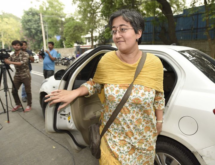 Atishi arrives to attend a meeting in New Delhi on May 3, 2017.