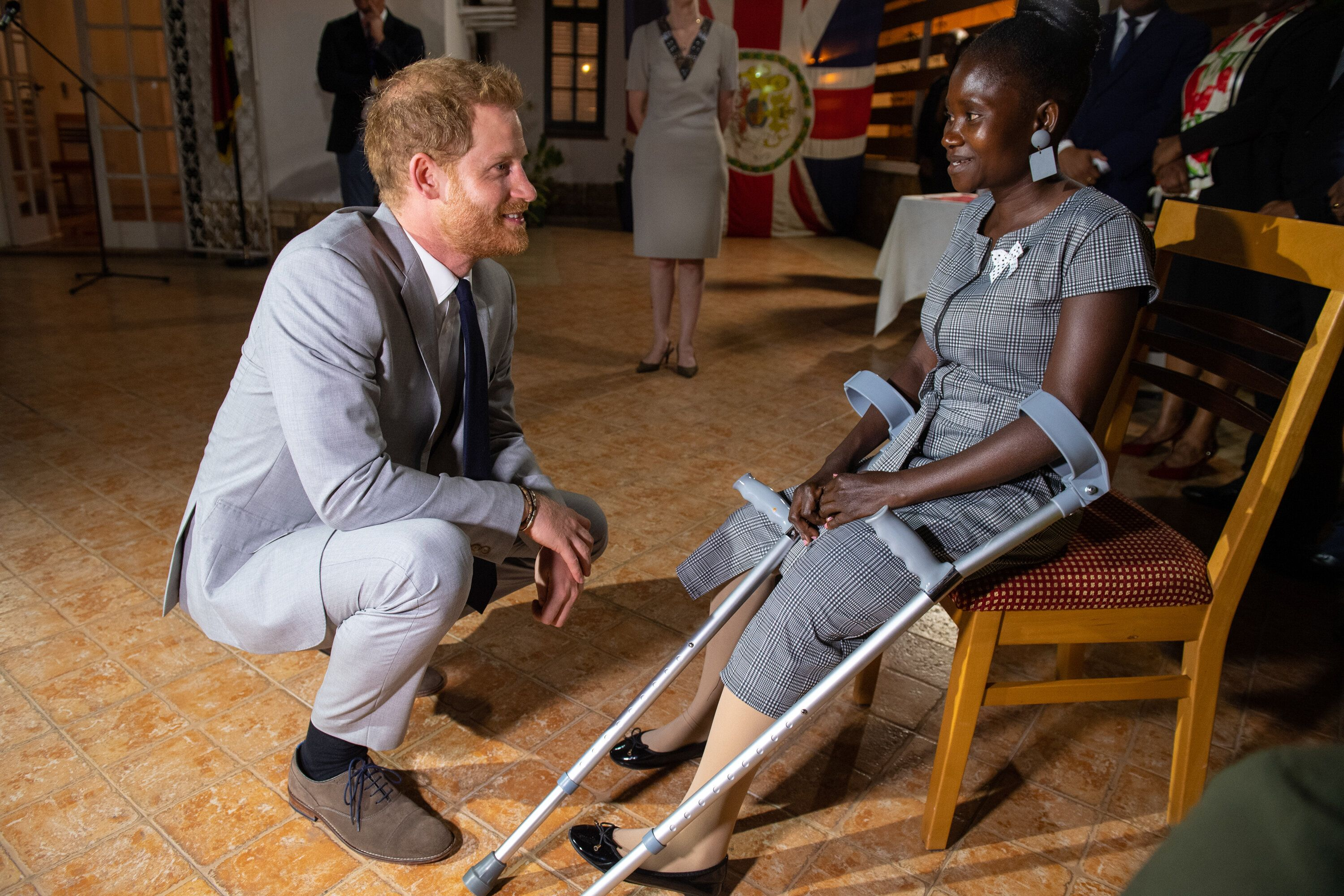 Prince Harry meets with Tigica as part of the Duke and Duchess of Sussex's royal tour.