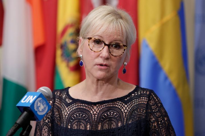 Sweden's Minister for Foreign Affairs Margot Wallstrom at the United Nations headquarters in New York on July 11, 2018.