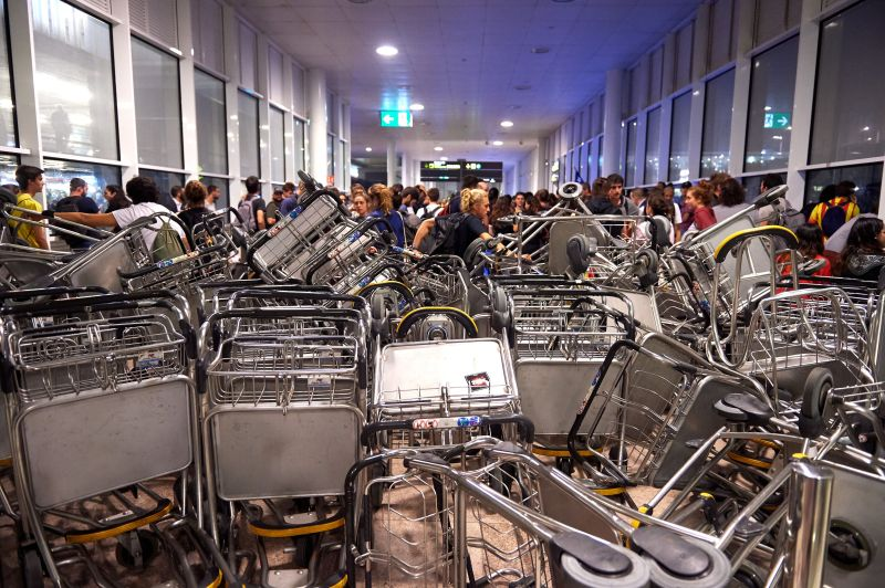 BARCELONA, SPAIN - OCTOBER 14: Barricades are seen at Barcelona Airport as people take part in a protest following the sentencing of nine Catalan separatist leaders on October 14, 2019 in Barcelona, Spain. Spain's Supreme Court has sentenced nine Catalan separatist leaders to between nine and 13 years in prison over their role in the 2017 Catalan independence referendum. (Photo by Alex Caparros/Getty Images)