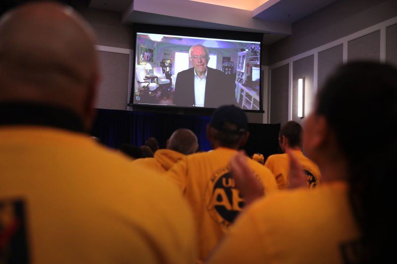 ALTOONA, IOWA - OCTOBER 13:  Democratic presidential candidate Sen. Bernie Sanders (I-VT) speaks via Skype at the United Food and Commercial Workers' (UFCW)  2020 presidential candidate forum  on October 13, 2019 in Altoona, Iowa. Sanders has been taking a break from campaigning,  resting at home following a recent heart attack. With 1.3 million members the UFCW is America's largest private sector union. The 2020 Iowa Democratic caucuses will take place on February 3, 2020, making it the first nominating contest in the Democratic Party presidential primaries (Photo by Scott Olson/Getty Images)