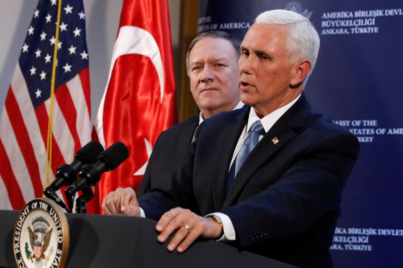 Vice President Mike Pence and Secretary of State Mike Pompeo hold a news conference at the Ambassador's residence after meeting with Turkish President Recep Tayyip Erdogan at the Presidential Palace, Thursday, Oct. 17, 2019, in Ankara, Turkey. (AP Photo/Jacquelyn Martin)