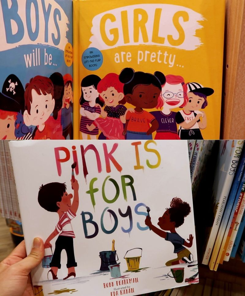 """유아용 책 """"핑크는 남자아이들에게 좋은 색"""""""