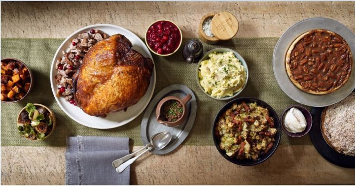 Thomas Keller's Ad Hoc Cranberry Sauce sits near the turkey at this Thanksgiving feast.