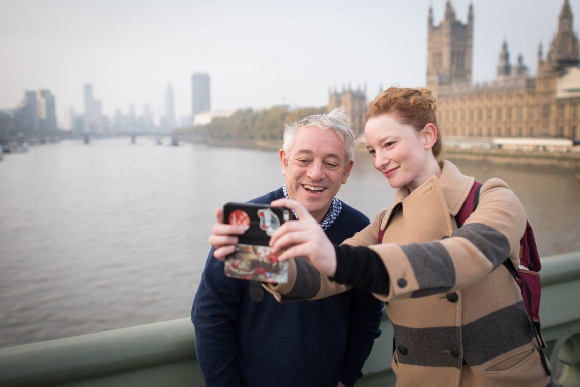 A woman takes a selfie with Speaker of the House of Commons, John Bercow, on Westminster Bridge in London this morning on his last day as Speaker of the House of Commons, after 10 years in the chair.