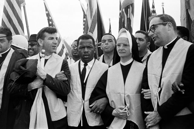 At the head of the march from Selma to Montgomery on March 25, 1965, nuns, priests and civil rights leaders: The Rev. Arthur