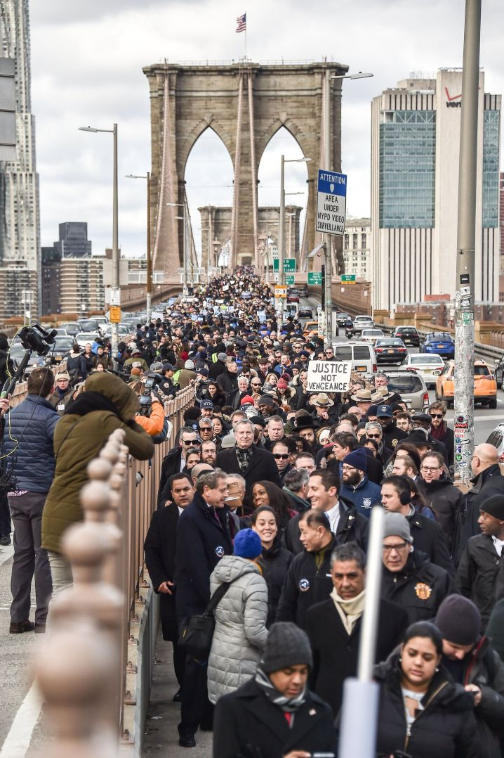 Thousands walk across the Brooklyn Bridge on Jan. 5, 2020, during a march protesting anti-Semitic hate crimes.