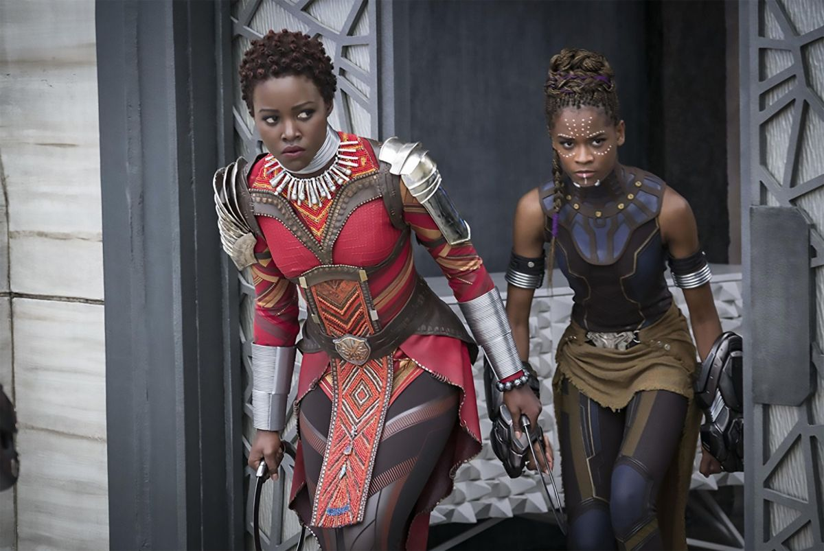 "Lupita Nyong'o, left, and Letitia Wright in ""Black Panther."""