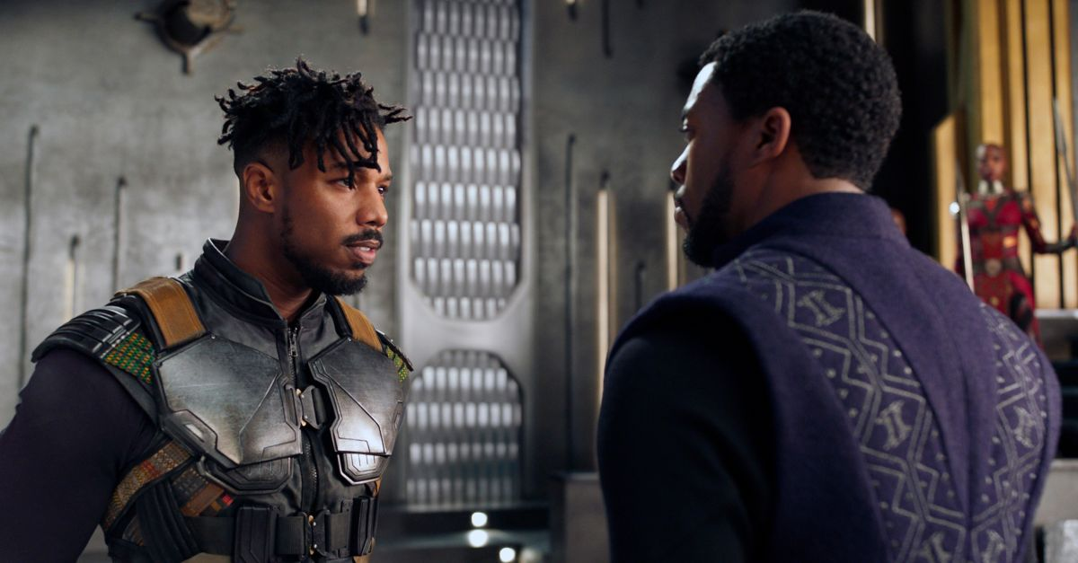 "Michael B. Jordan, left, with Chadwick Boseman in ""Black Panther."""
