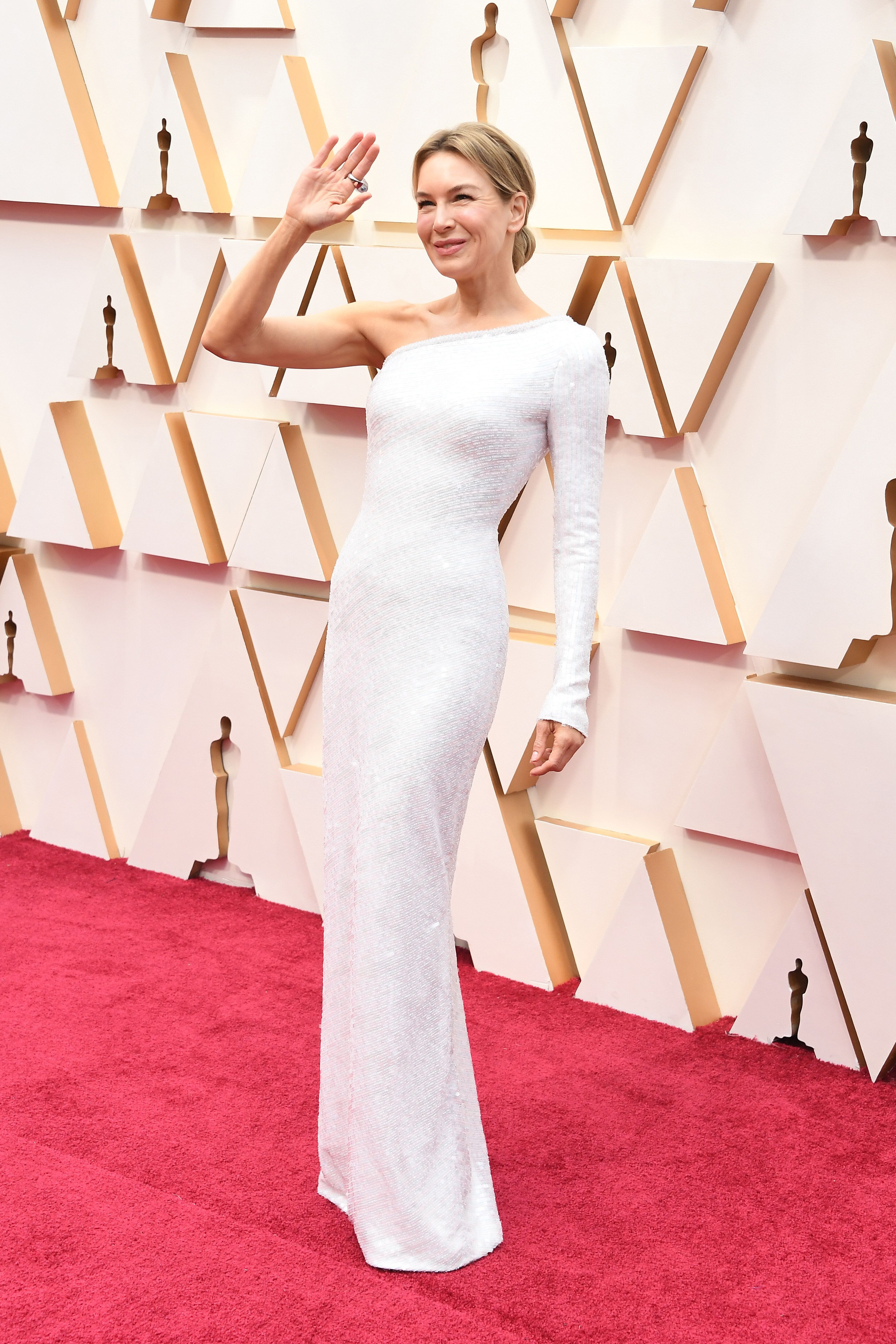 Zellweger walks the red carpet at the 2020 Oscars in Hollywood, California.