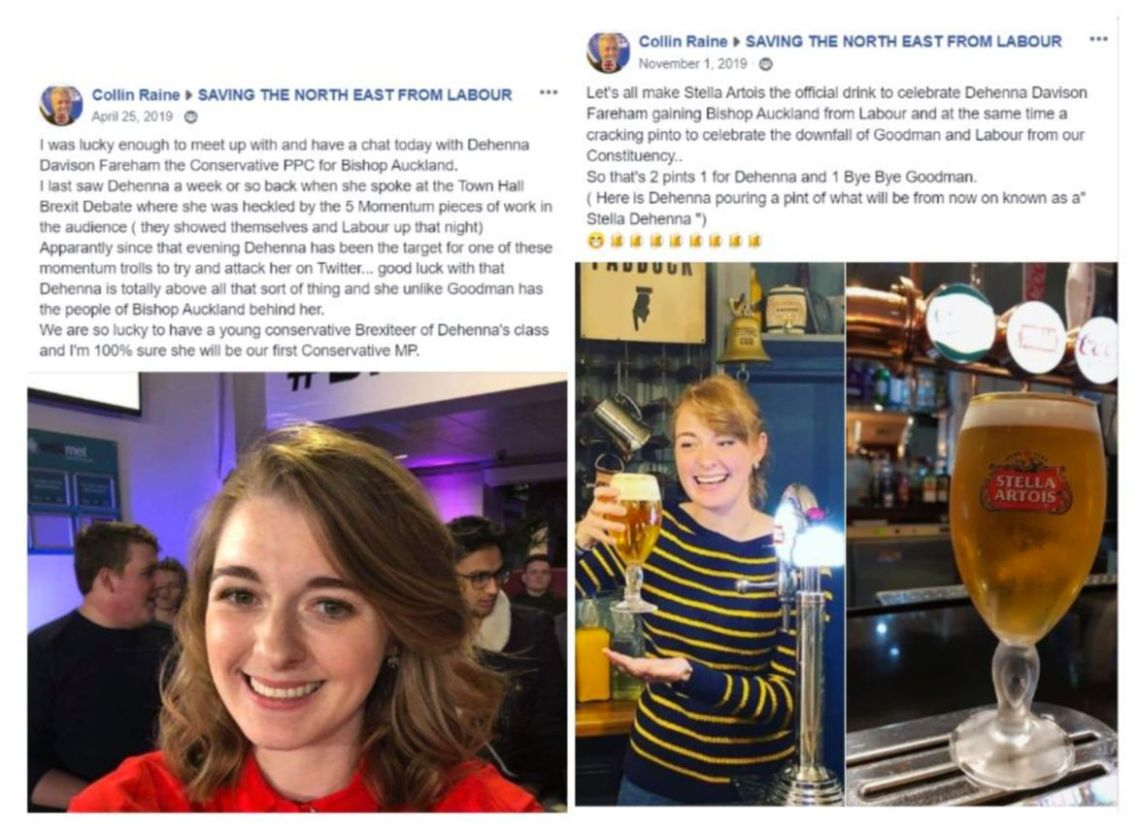 Images from a Facebook account thought to belong to Colin Raine, the left said to be after a meeting in April (a month after the party said Raine was banned from becoming a member) and right in November