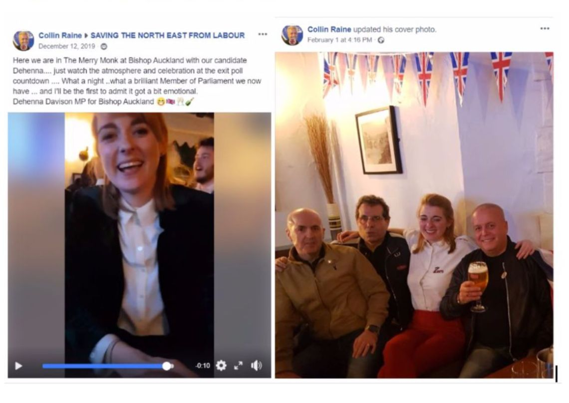 Left, a post Colin Raine made of Davison on election night and, right, Raine posing with Davison at a Brexit party in Bishop Auckland