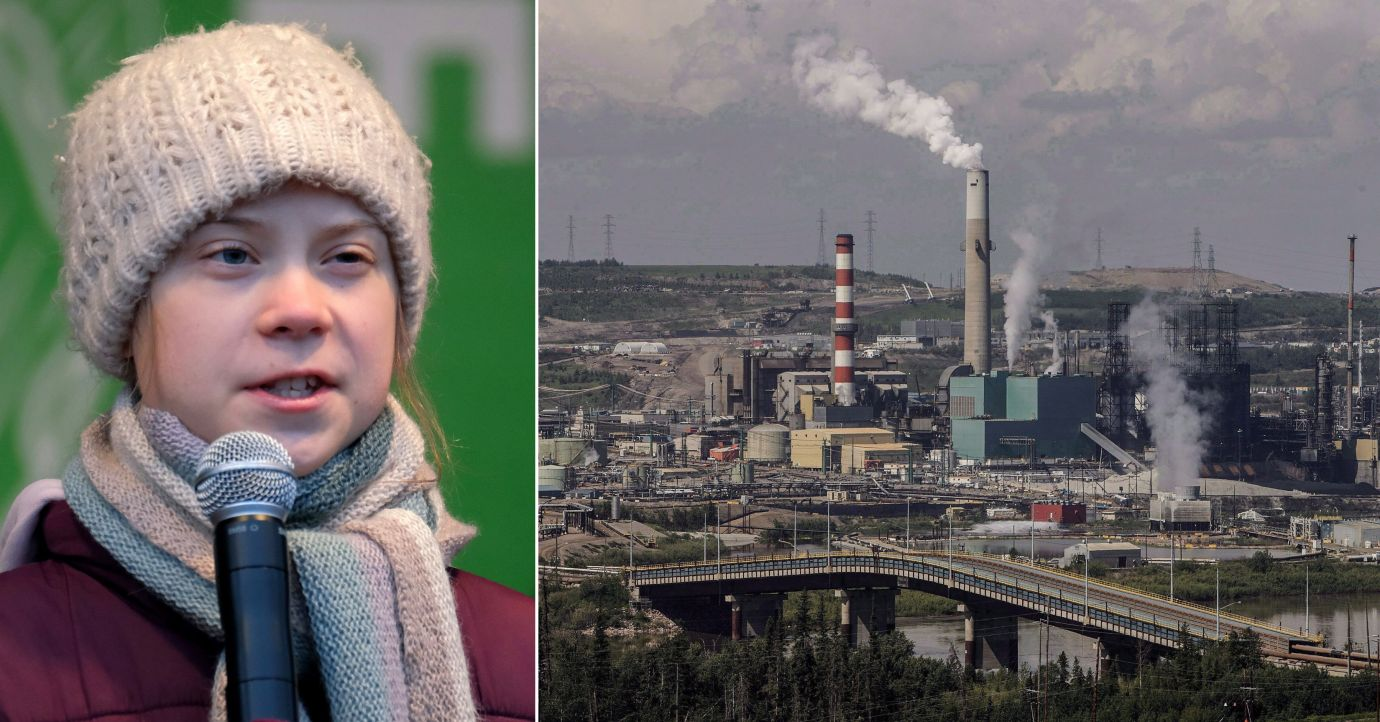 A hardhat sticker that was reportedly circulated at some oil worksites in Alberta depicts climate activist Greta Thunberg, left, being sexually assaulted.