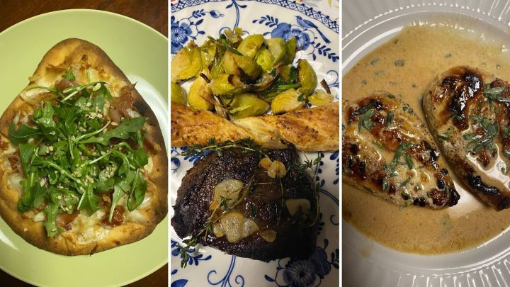 Ambar's Home Chef meals (left to right):prosciutto and hazelnut flatbread with mozzarella and a hot honey drizzle;steak and garlic thyme butter with balsamic Brussel sprouts and Parmesan twists;chicken breasts with Béarnaise sauce with roasted fingerling potatoes and Brussels sprouts.
