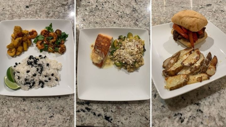 Danielle's Home Chef meals (left to right):mojo shrimp and plantain rice bowl; salmon and brown butter Hollandaise risotto;ciabatta steak sandwich with bacon aioli and parmesan potato wedges.