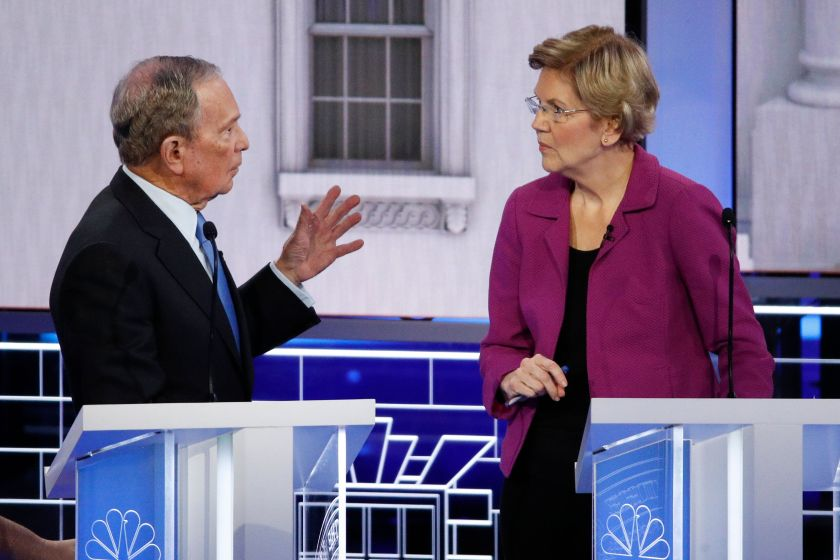 Sen. Elizabeth Warren eviscerated former New York Mayor Mike Bloomberg at his first Democratic presidential debate, going aft