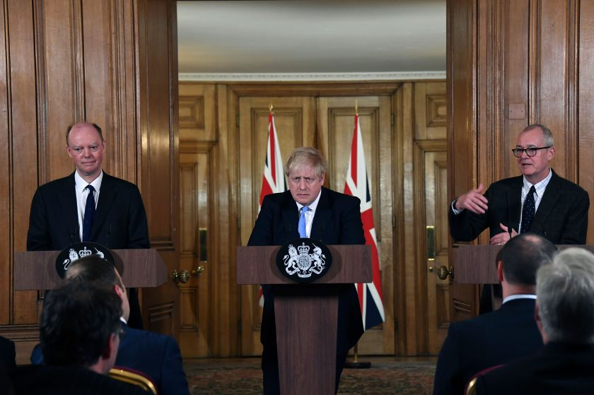 From left, Chief Medical Officer for England Chris Witty, Britain's Prime Minister Boris Johnson and Chief Scientific Adviser