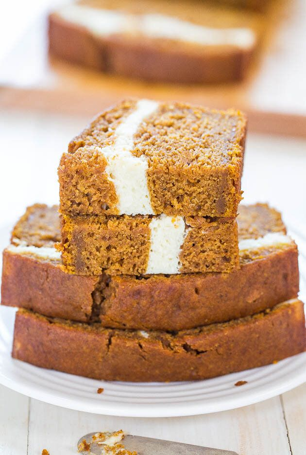 Get the Cream Cheese-Filled Pumpkin Bread recipe from Averie Cooks