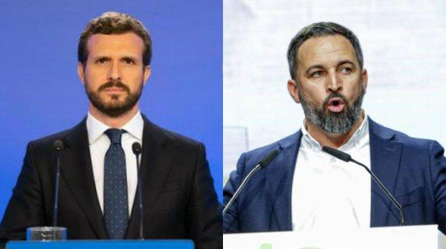Els líders de PP i Vox, Pablo Casado i Santiago