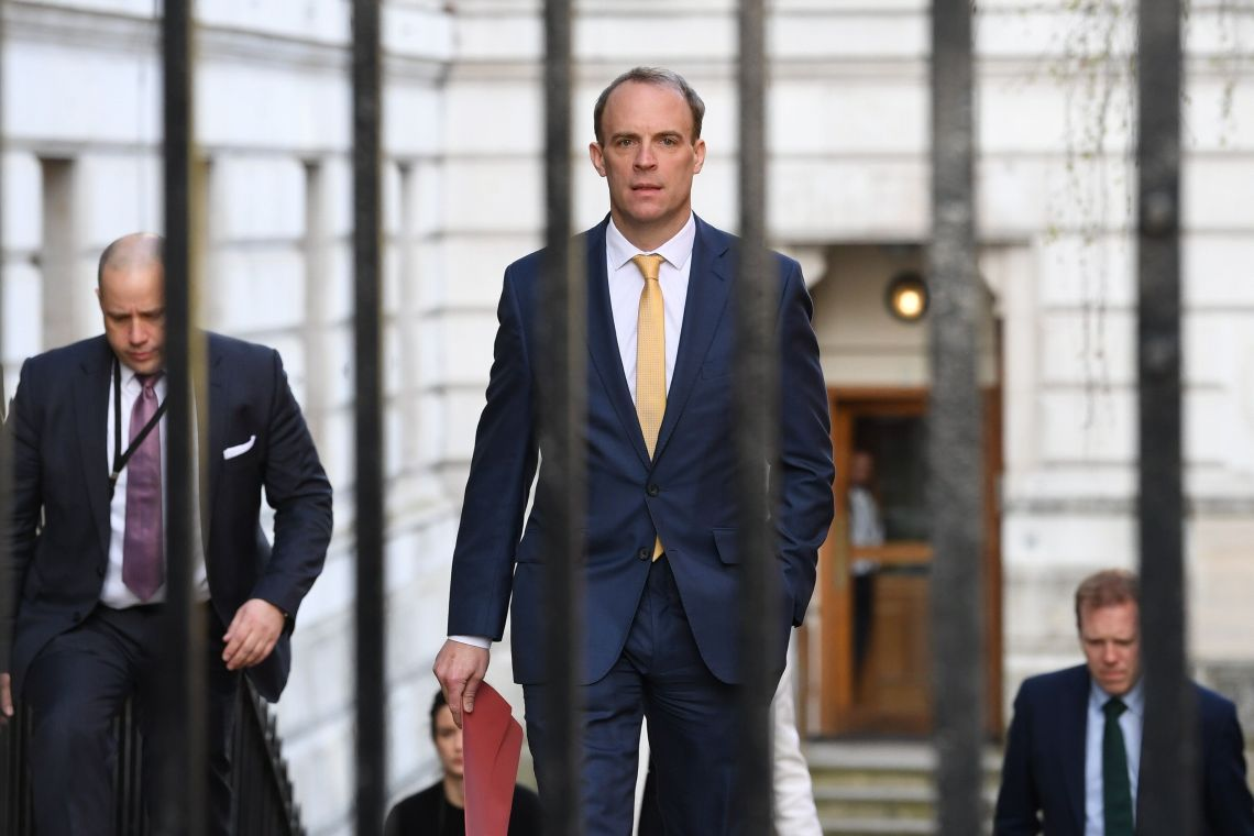 Foreign secretary Dominic Raab, who is taking charge of the government's response to the coronavirus crisis after Boris Johnson was admitted to intensive care Monday, arrives at 10 Downing Street, London.