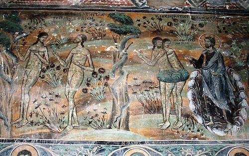 Ναός Αγίου Μηνἀ, Μονοδένδρι, Ζαγοροχώρια, 1619, Πρωτόπλαστοι, «υπό χειρός Μιχαήλ ζωγράφου μετά του ιού...