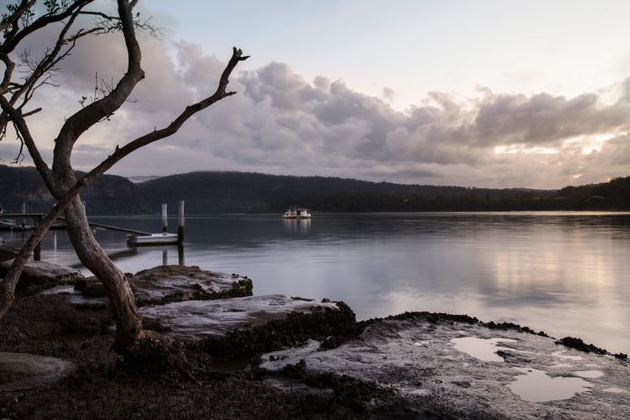 Early morning view from the banks of the Hawkesbury river, Sydney, Australia, NSW