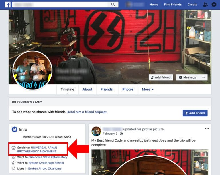 A screenshot by the Tech Transparency Project shows how Facebook auto-generates pages for white supremacist groups.