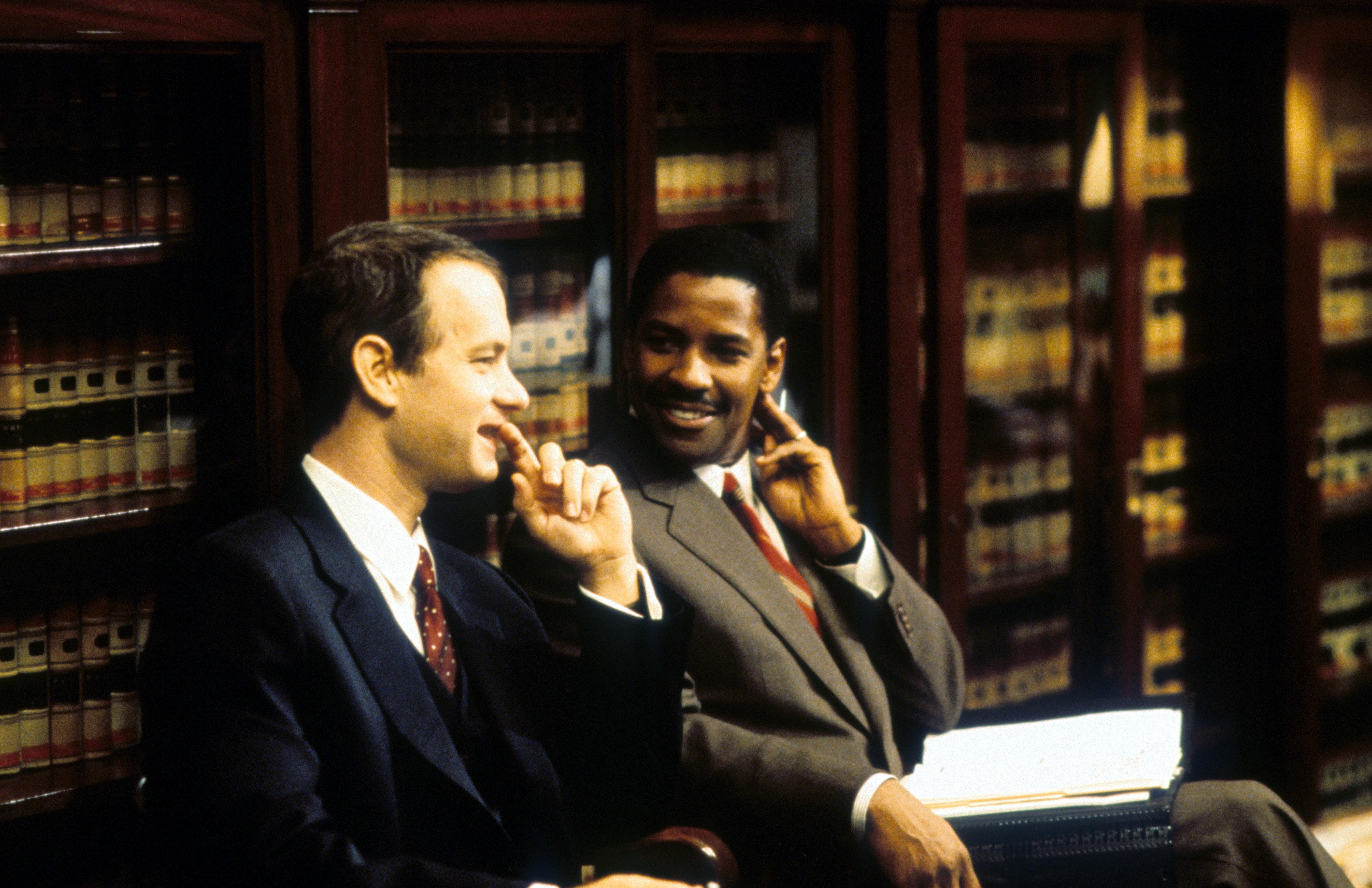"""Tom Hanks (left) and Denzel Washington in """"Philadelphia."""""""
