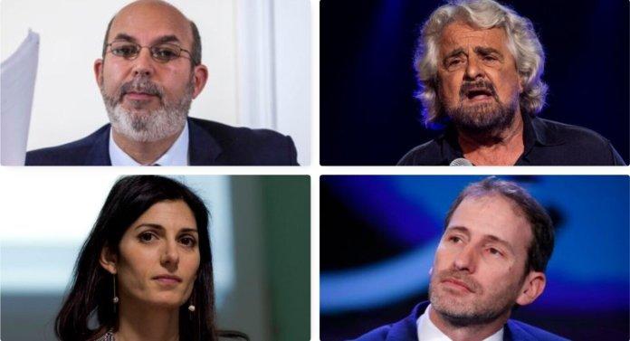 Vito Crimi, Beppe Grillo, Davide Casaleggio and Virginia