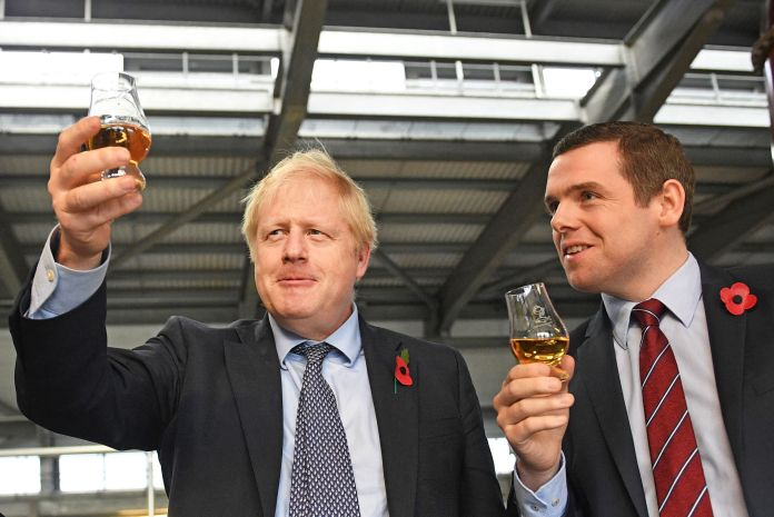 Johnson alongside Douglas Ross, who quit as a Scotland minister over Dominic Cummings' alleged breach of lockdown rules.