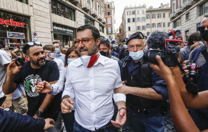 Matteo Salvini, the leader of the right-wing Northern League, attends an anti-government demonstration in Rome, on June 2, 20