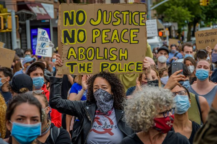 One of Tuesday's protests in New York City.