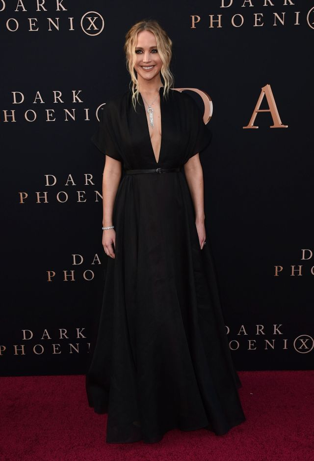 "Jennifer Lawrence arrives at the Los Angeles premiere of ""Dark Phoenix"" in 2019."