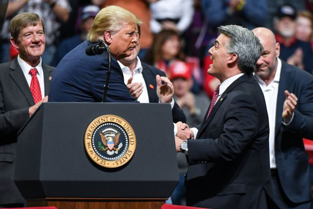 Cory Gardner Sen. Cory Gardner (R-Colo.) joined President Donald Trump on stage during a Keep America Great rally in February in Colorado