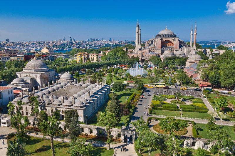 Turkey, Istanbul, Sultanahmet district, area declared a World Heritage Site by UNESCO, Hagia Sophia (Aya