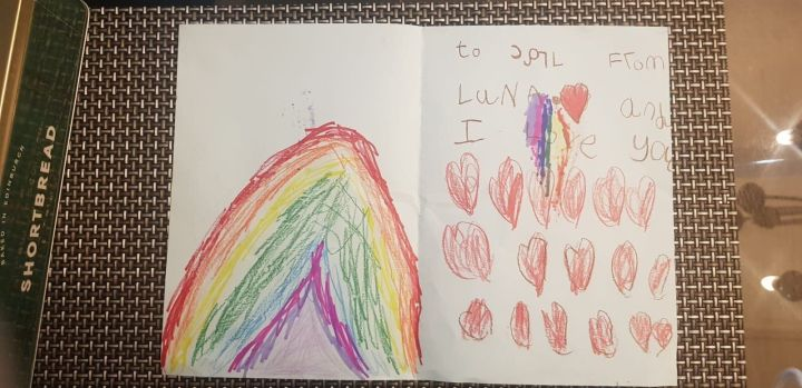 Karl card, welcome back card from a 5 year old supporter.