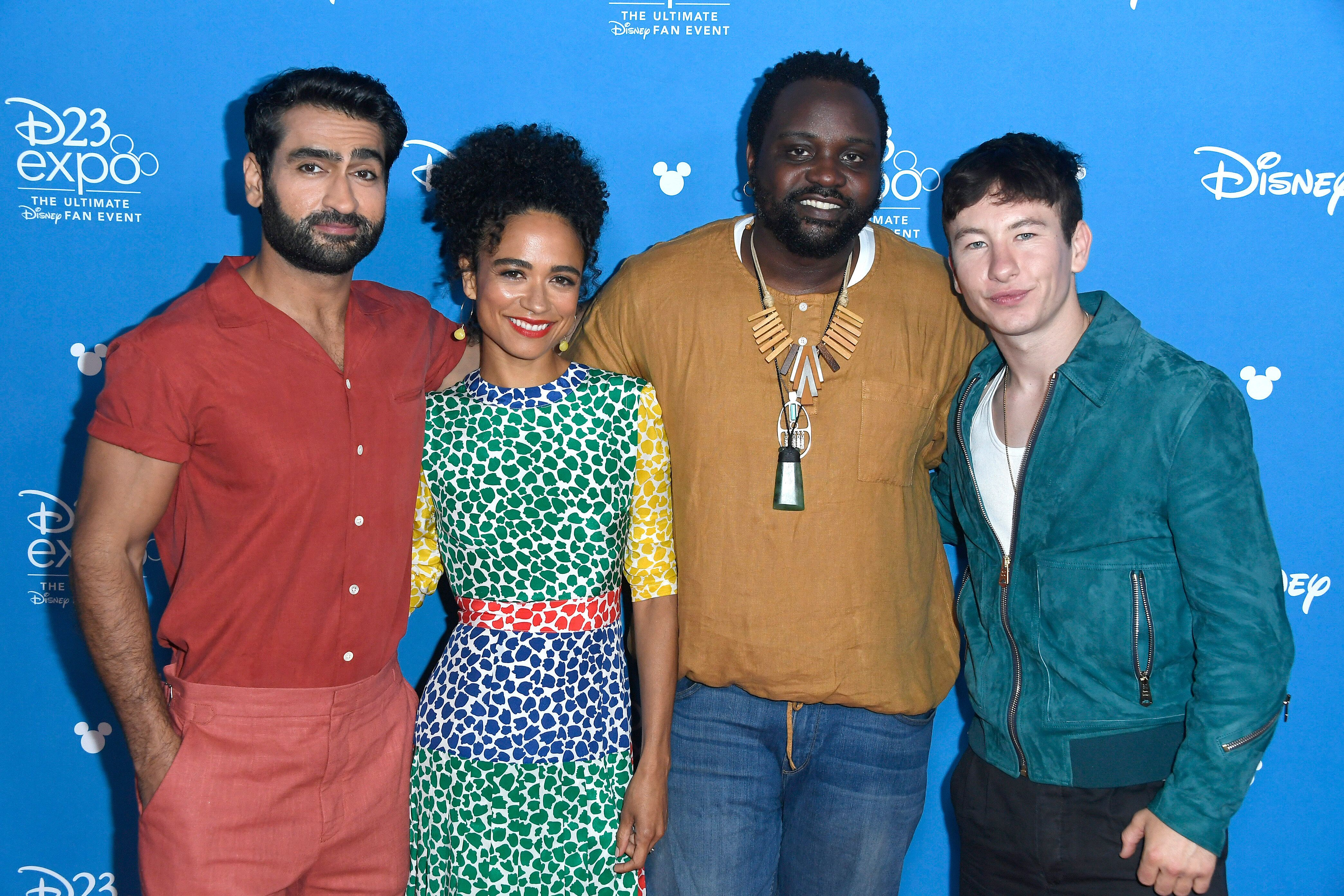 Actors Kumail Nanjiani, Lauren Ridloff, Brian Tyree Henry and Barry Keoghan attend Go Behind the Scenes with Walt Disney Stud