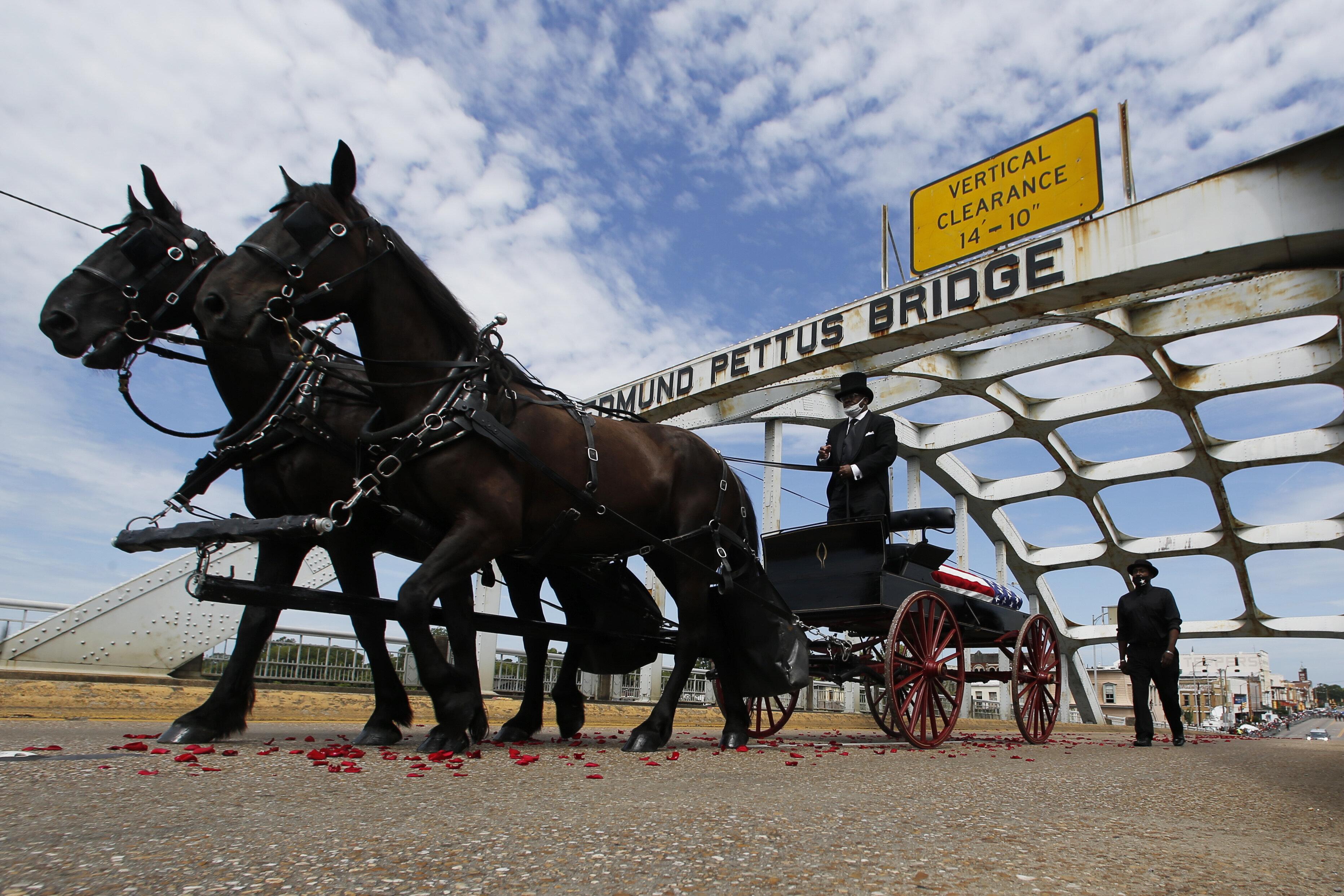 Late Rep John Lewis Crosses Edmund Pettus Bridge In Selma