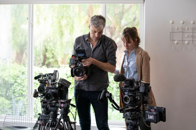 """Cinematographer Thorsten Thielow and director Elizabeth Wolff working on """"I'll Be Gone In The Dark."""""""