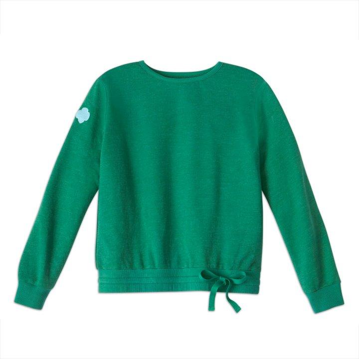 "<a href=""https://www.girlscoutshop.com/forest-green-french-terry-drawstring-sweatshirt"" target=""_blank"" rel=""noopener noreferrer"">Forest Green French terry drawstring sweatshirt, $34</a>"