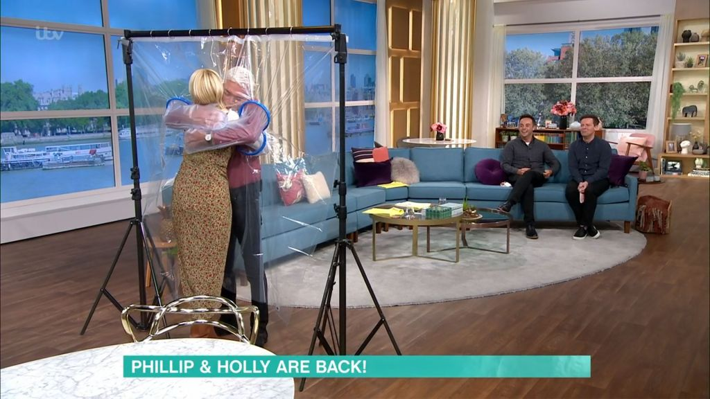 Holly Willoughby And Phillip Schofield Share A Socially Distanced Hug As They Return To This Morning
