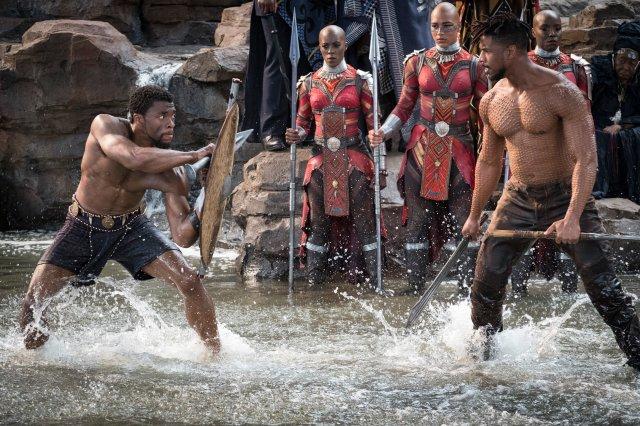 """Boseman and Michael B. Jordan at Warrior Falls in """"Black Panther."""""""